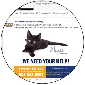 The Willamette Humane Society has engaged their followers on Facebook with a visually interesting post to promote mobile giving.