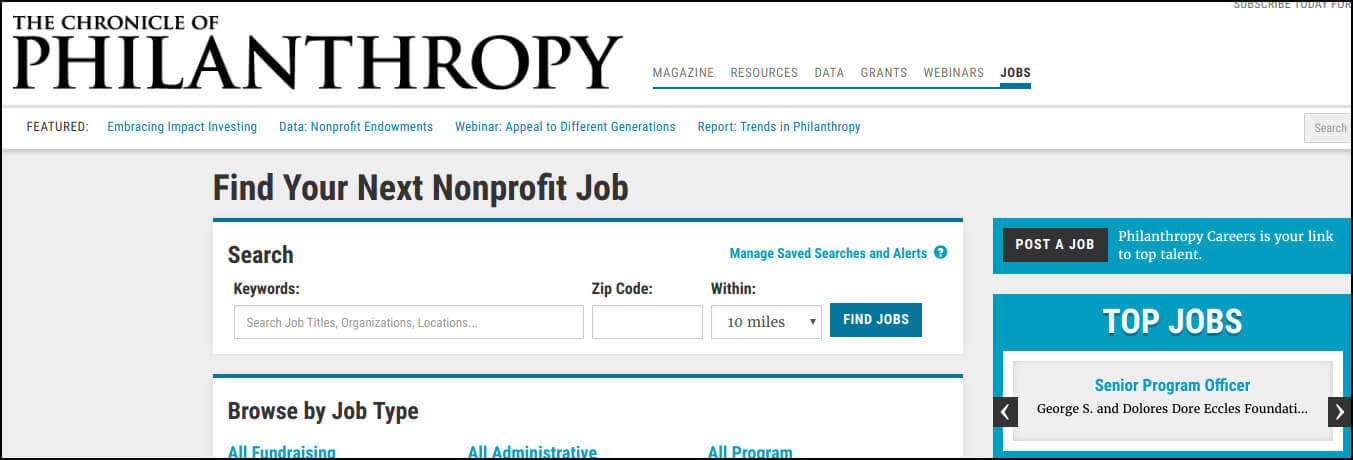 Chronicle of Philanthropy is a magazine and top nonprofit job portal.