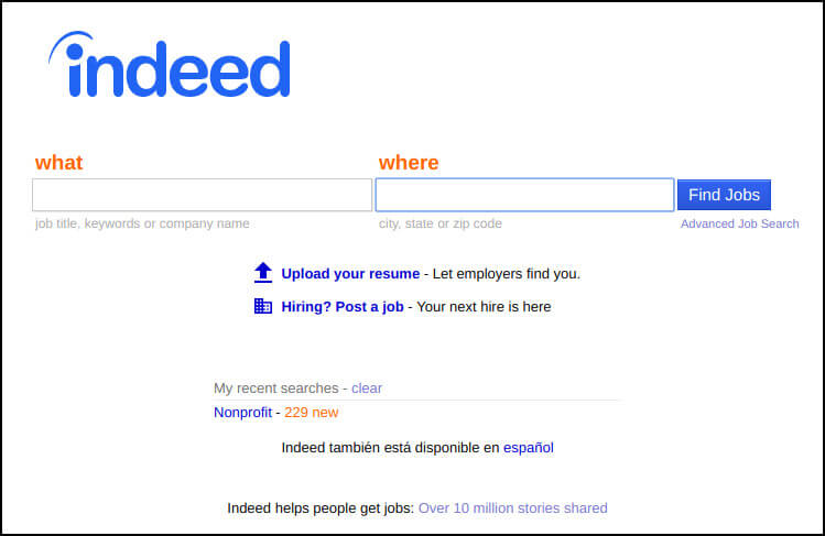 Indeed allows nonprofit professionals to research salaries and company reviews.