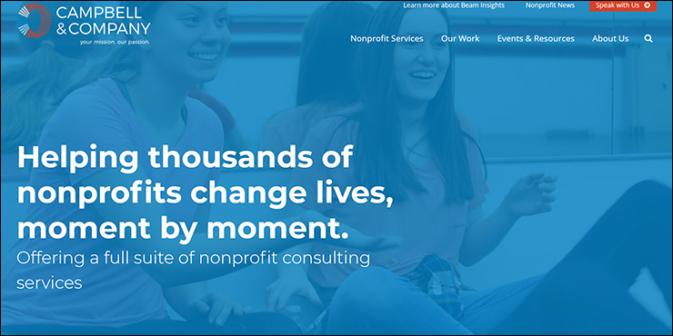 Visit the Campbell & Company website for more information about their nonprofit consulting services.