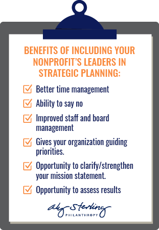 This graphic displays the benefits of nonprofit strategic planning.