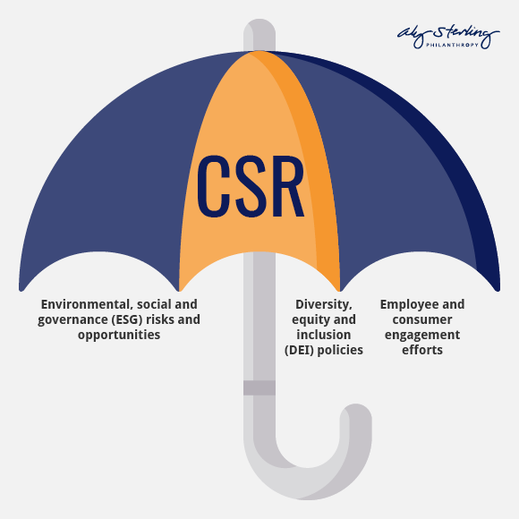 The CSR umbrella includes ESG risks and opportunities, DEI policies, and employee and customer engagement.