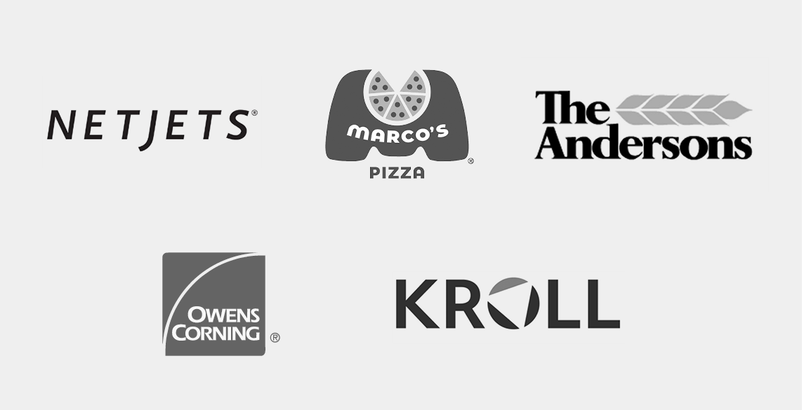 Our clients, NetJets, Marcos Pizza, The Andersons, Owens Corning, Kroll